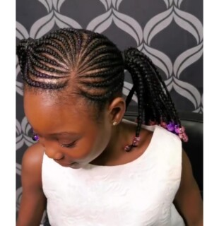 Kids Cornrows with extensions