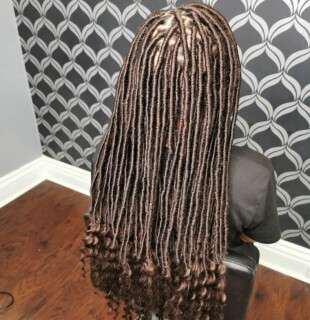 Faux Locs (Medium lower Back with curls)